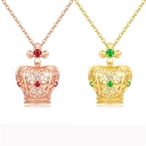 【童话镇】 18K金钻石皇冠吊坠红宝石宝石项链吊坠