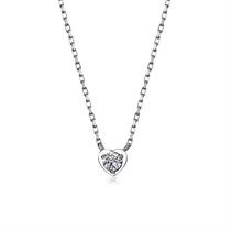 【小心情】 白18K金简约心形钻石吊坠
