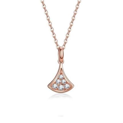 【扇子】 18k玫瑰金扇形钻石项链吊坠