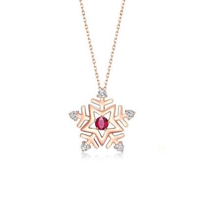 【初雪】系列 玫瑰18k金红宝石钻石女士吊坠