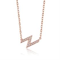 【光系列-闪电】 玫瑰18K金简约女款钻石吊坠