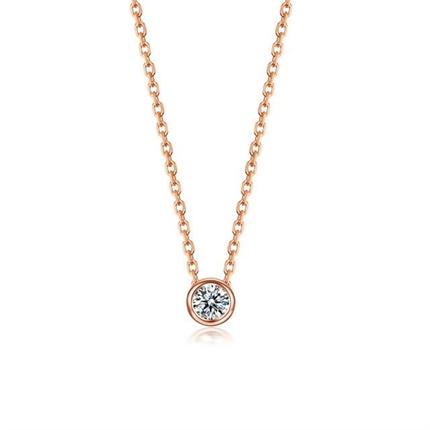 【波点】 18K金简约钻石吊坠项链