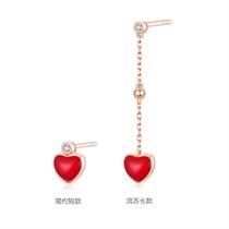 【小红心单只】 18k玫瑰金心形镶钻珐琅耳钉耳环