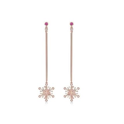 【初雪】系列 玫瑰18k金钻石耳钉