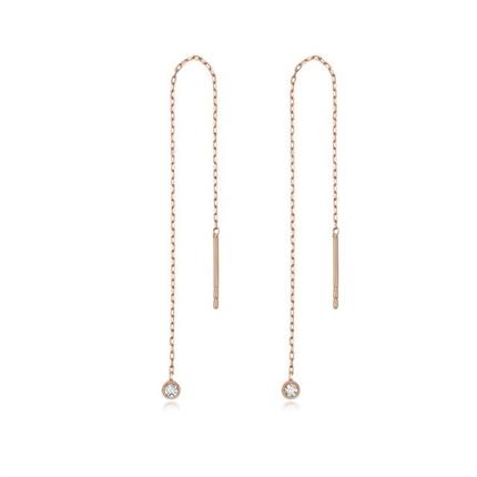 【原点】 18K玫瑰金时尚个性钻石耳坠简约耳环