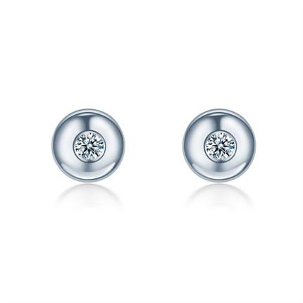 【圆点】 白18K金简约钻石耳钉