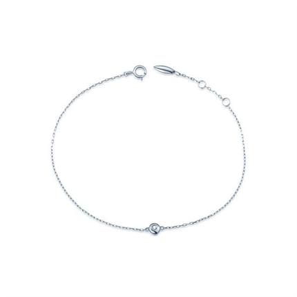 【圆点】 白18K金时尚简约钻石手链  两色可选