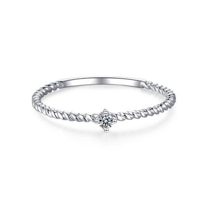 【小心情】 白18K金时尚简约款钻石女戒