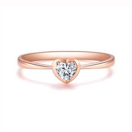【怦然心動】 18k玫瑰金心形鉆戒紅寶石鑲嵌女戒