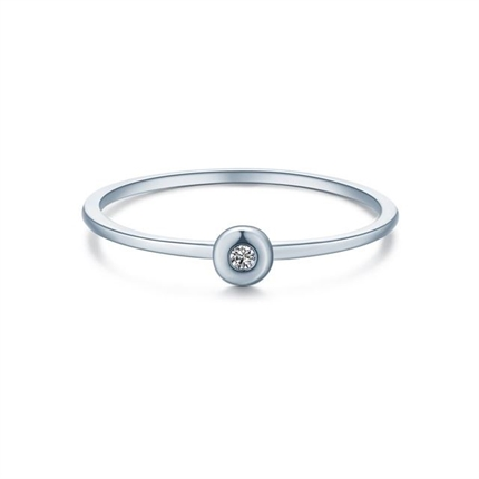 【圆点】 K金简约款钻石女戒时尚戒指