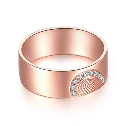 【指纹】 18k玫瑰金指纹钻戒男士定制款