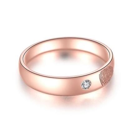 【指纹】 18k玫瑰金指纹钻石戒指定制款男士戒指