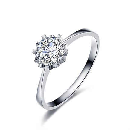 【璀璨雪花】 白18k金23分/0.23克拉钻石戒指