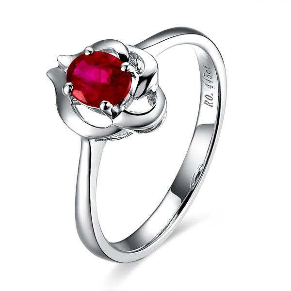 【惬意】 白18k金天然红宝石戒指