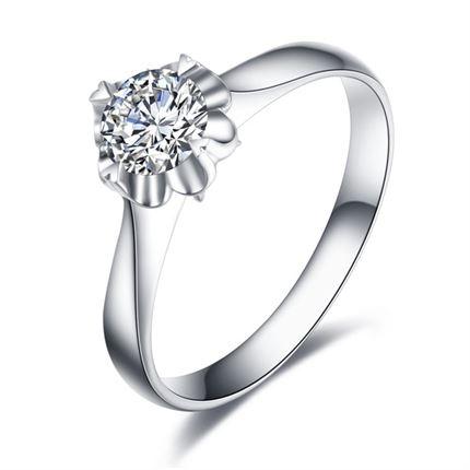 【缘定花开】 白18K金钻石戒指女戒