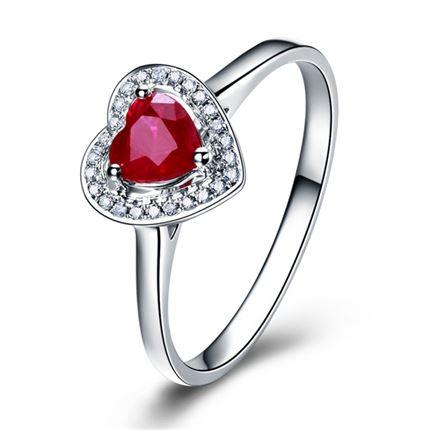 【心悦】 白18k金天然红宝石宝石戒指