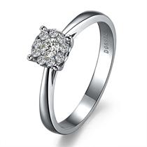 【爱之桂冠】 白18k金10分/0.1克拉钻石戒指