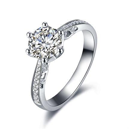 【注定的爱】 白18k金50分/0.5克拉钻石戒指