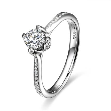 【若火】 白18k金24分/0.24克拉钻石戒指