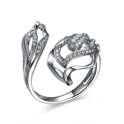 【凤之戒】 白18k金钻石密斯戒指