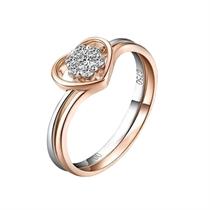 【巧心绝配戒指】 3分/0.03克拉玫瑰金钻石戒指