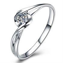 【心灵感应】 白18K金8分/0.08克拉钻石女士戒指