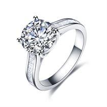 【梦幻之恋】 白18k金100分/1克拉钻石戒指