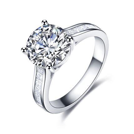 【梦境之恋】 白18k金钻石密斯戒指