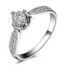 【倾世】 白18k金钻石女士戒指