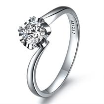 【花冠】 白18k金21分/0.21克拉钻石戒指