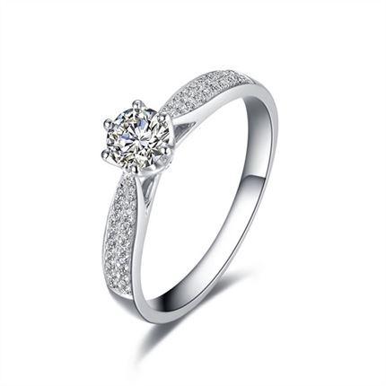 【爱的承诺】 白18k金100分/1克拉钻石戒指