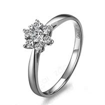 【灿烂的爱情】 白18k金8分钻石戒指