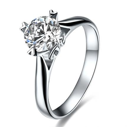 【初恋的你】 白18k金钻石密斯戒指