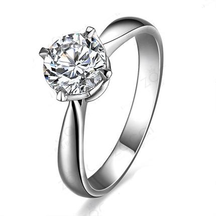 【清澈星光】 白18k金钻石戒指 净度VS