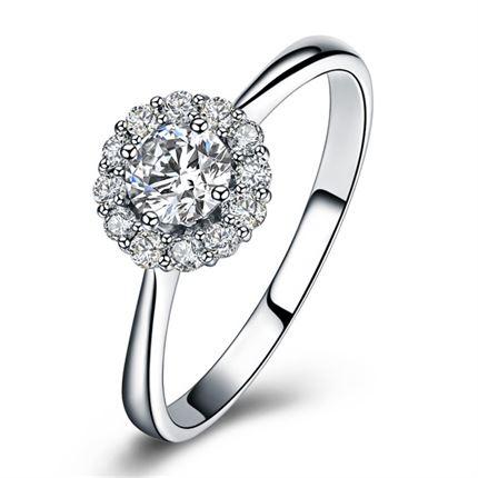 【美丽人生】 白18k金25分/0.25克拉钻石戒指