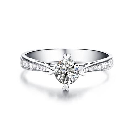 【情定威尼斯】 白18k金0.26克拉,VG钻石戒指