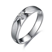 【星光】 白18k金18分/0.18克拉钻石男士戒指