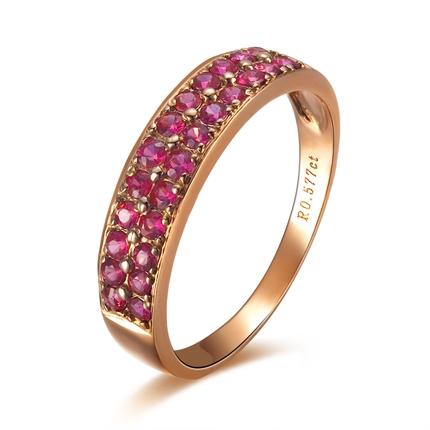 【鸿运】 玫瑰金天然红宝石戒指