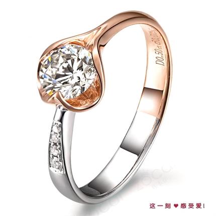 【玫瑰情丝】 50分/0.5克拉玫瑰金钻石戒指