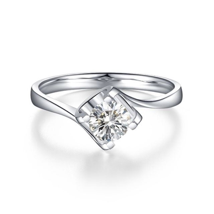 【闪耀时光】 白18k金钻石戒指 切工VG