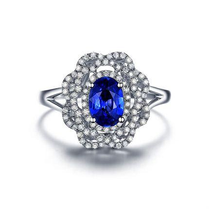 【蓝玫瑰】 白18K金女士戒指