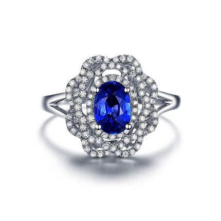 【蓝玫瑰】 白18K金密斯戒指