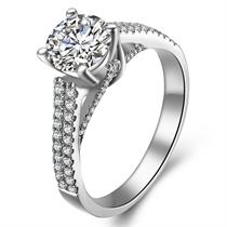 【星辰】 白18k金钻石戒指特价正品