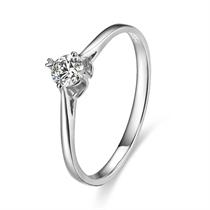【依依相偎】 白18k金21分/0.21克拉钻石戒指