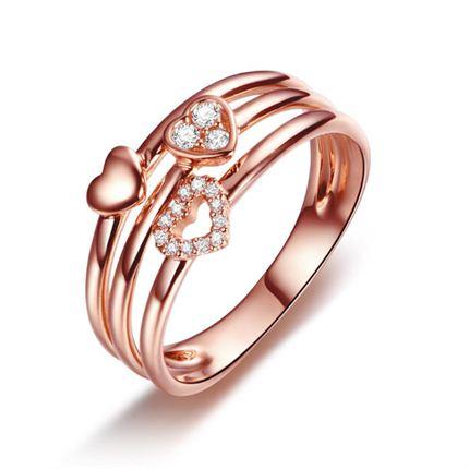 【心缘】系列 白18K金钻石戒指女戒