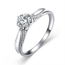 【蝴蝶恋人】 白18K金钻石女士戒指