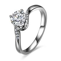 【佳期如梦】 白18k金70分/0.7克拉钻石戒指