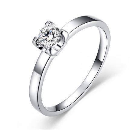 【呵护】 白18K金钻石戒指