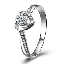 【永结同心】 白18k金钻石女士戒指