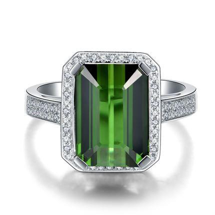 【传奇】 白18K金绿碧玺钻石戒指